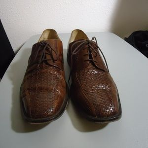 Brown Johnston Murphy Leather Woven Oxfords 11.5 M